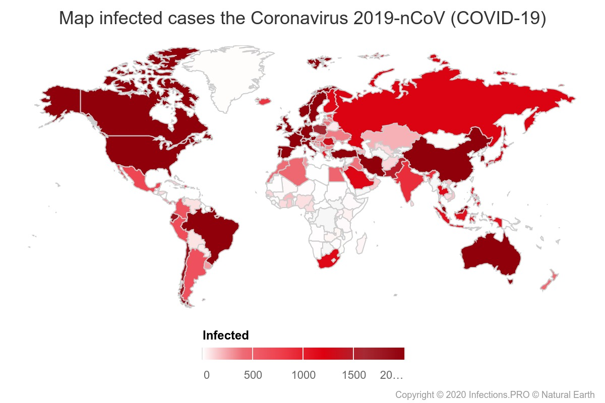 Real time map of confirmed cases of Coronavirus 2019-nCoV (COVID-19)